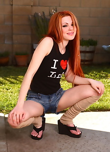xxx pics Sexy redhead gets totally naked prior, ass , masturbation