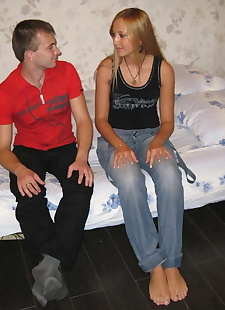 xxx pics Barefoot blonde and her guy undress, ass , blonde