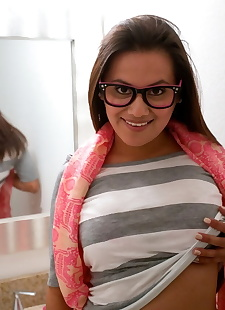 xxx pics Glasses clad teen Selma Sins reveals, ass , petite