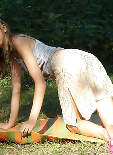 xxx pics Barely legal teen strips naked on a, ass , outdoor  skirt