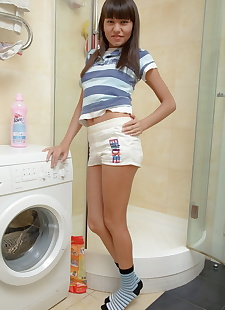 xxx pics Cute teen does anal on the bathroom, ass , panties